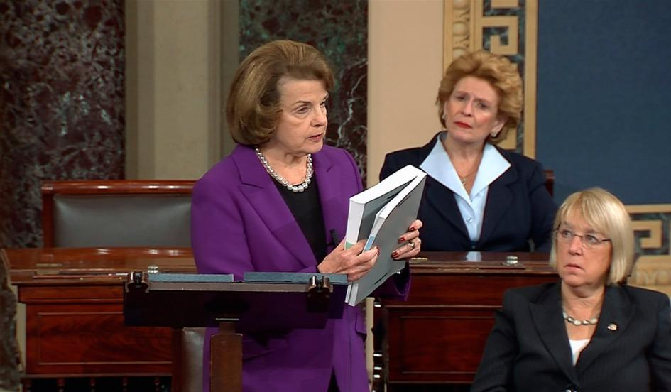 Senator Dianne Feinstein Holding the Torture Report Executive Summary