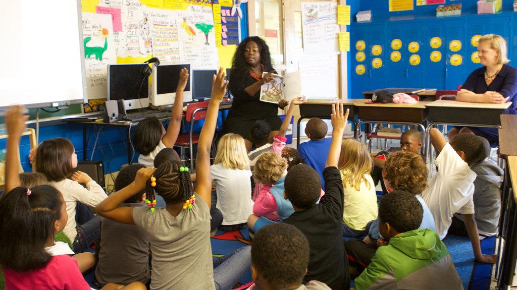 kids in a public school classroom