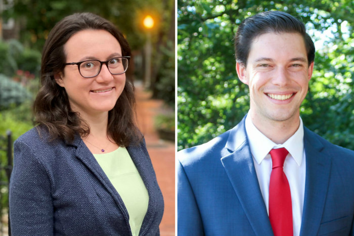 Headshots of Courtney Cooperman and Josh Burg