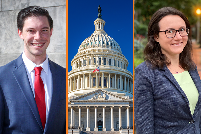Current RAC Legislative assistants headshots in three vertical panels with the US Capitol building between the two