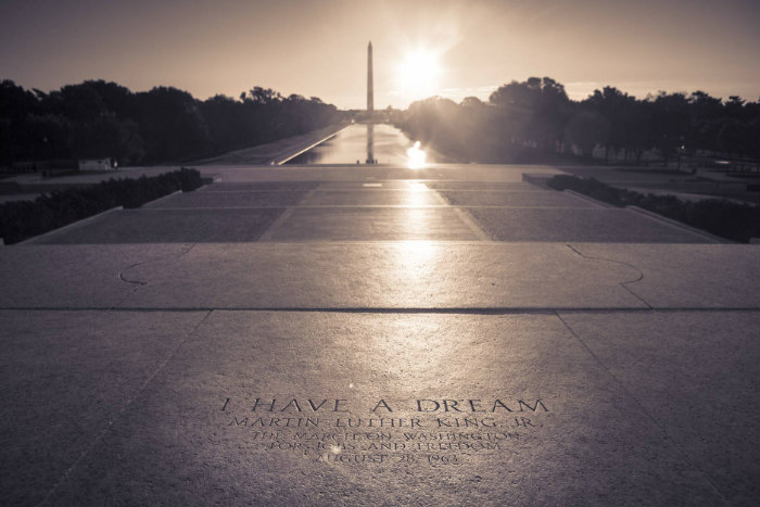 View of the Washington Monument from the Lincoln Memorial with MLK quote in view