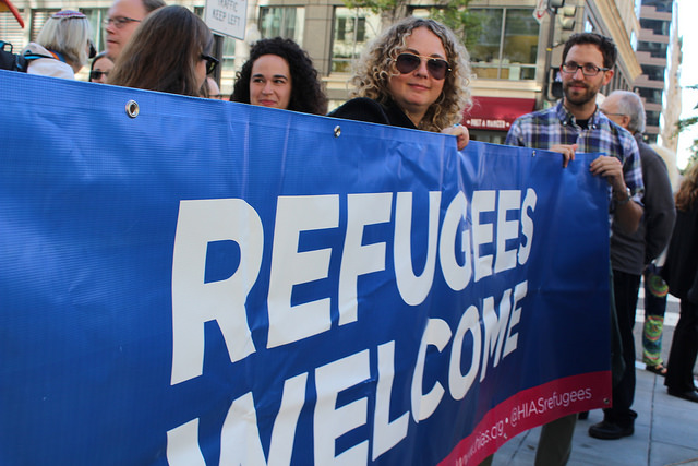 Refugees Welcome banner at a protest