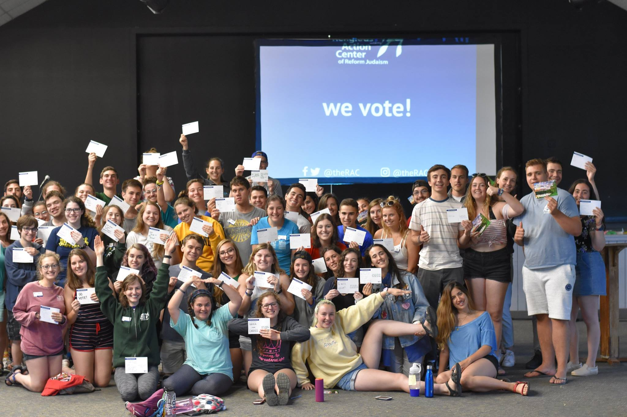 Kutz Camp Staff with pledge to vote postcards