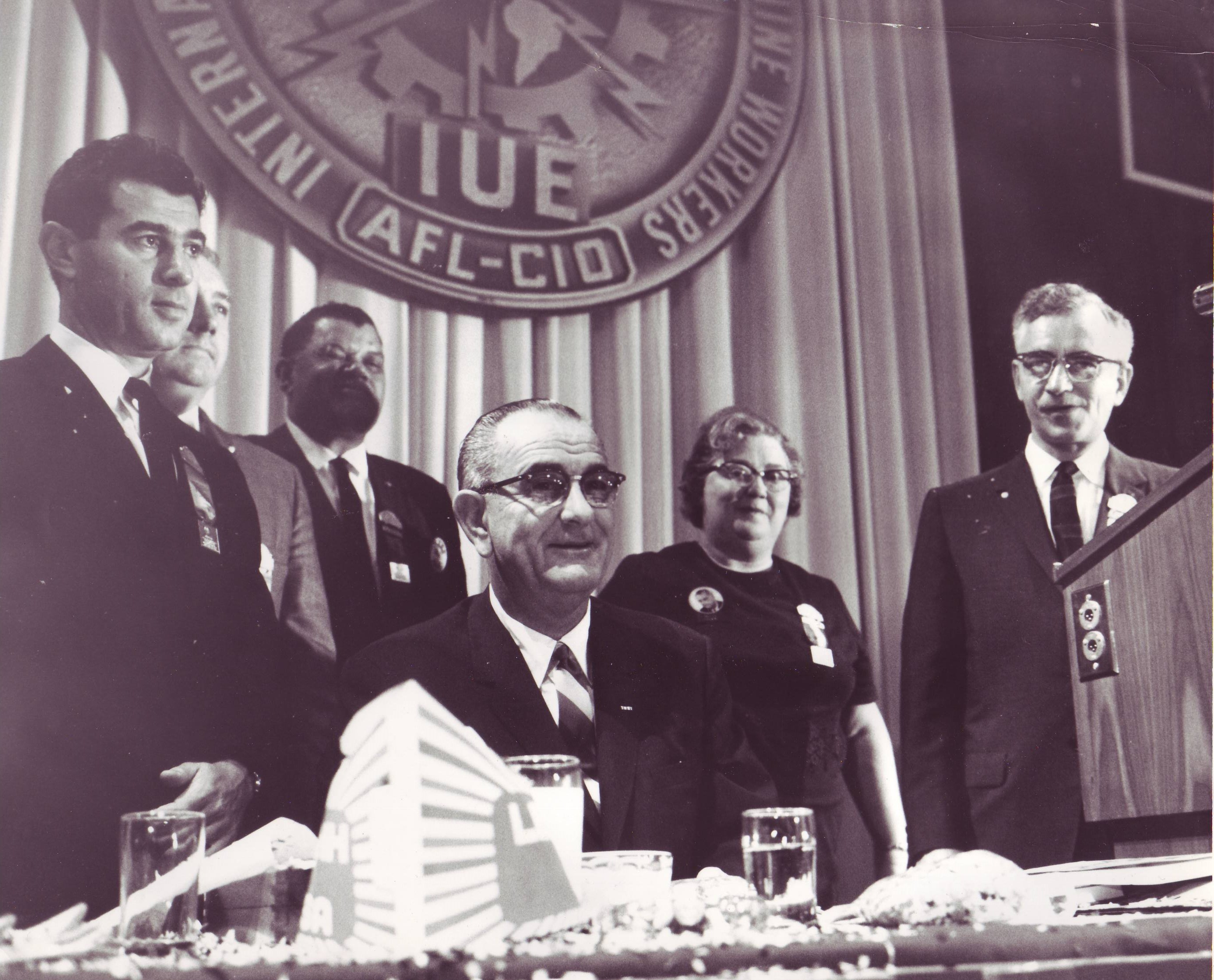 Rabbi Richard Hirsch and President Johnson at AFL-CIO event