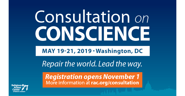 Consultation on Conscience written in white on blue with date May 19-21, 2019