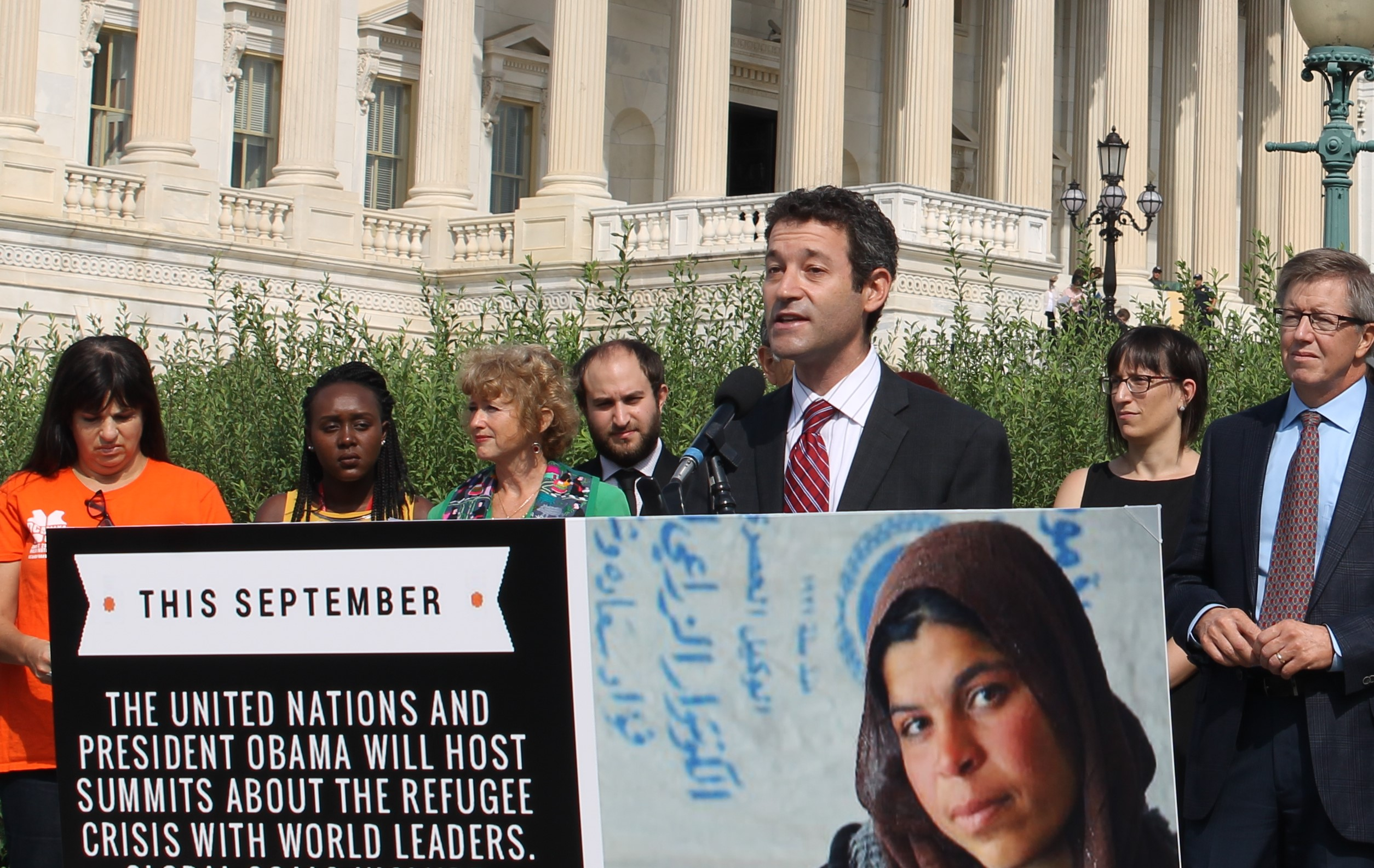 Rabbi Saxe speaking at Refugees Welcome press conference