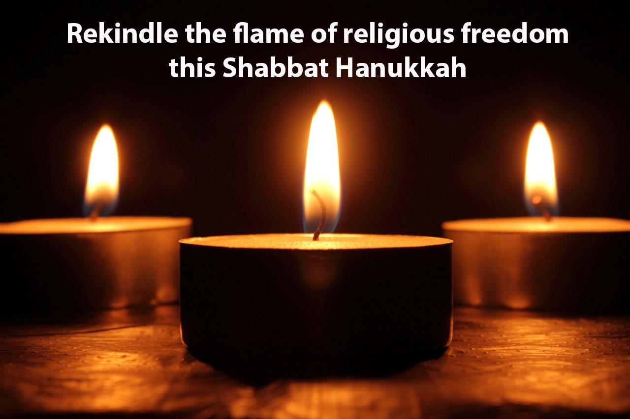 three tea lights and text reading: rekindle the flame of religious freedom this Shabbat Hanukkah