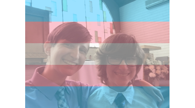Yael and Spencer Rothman overlaid with trans flag filter