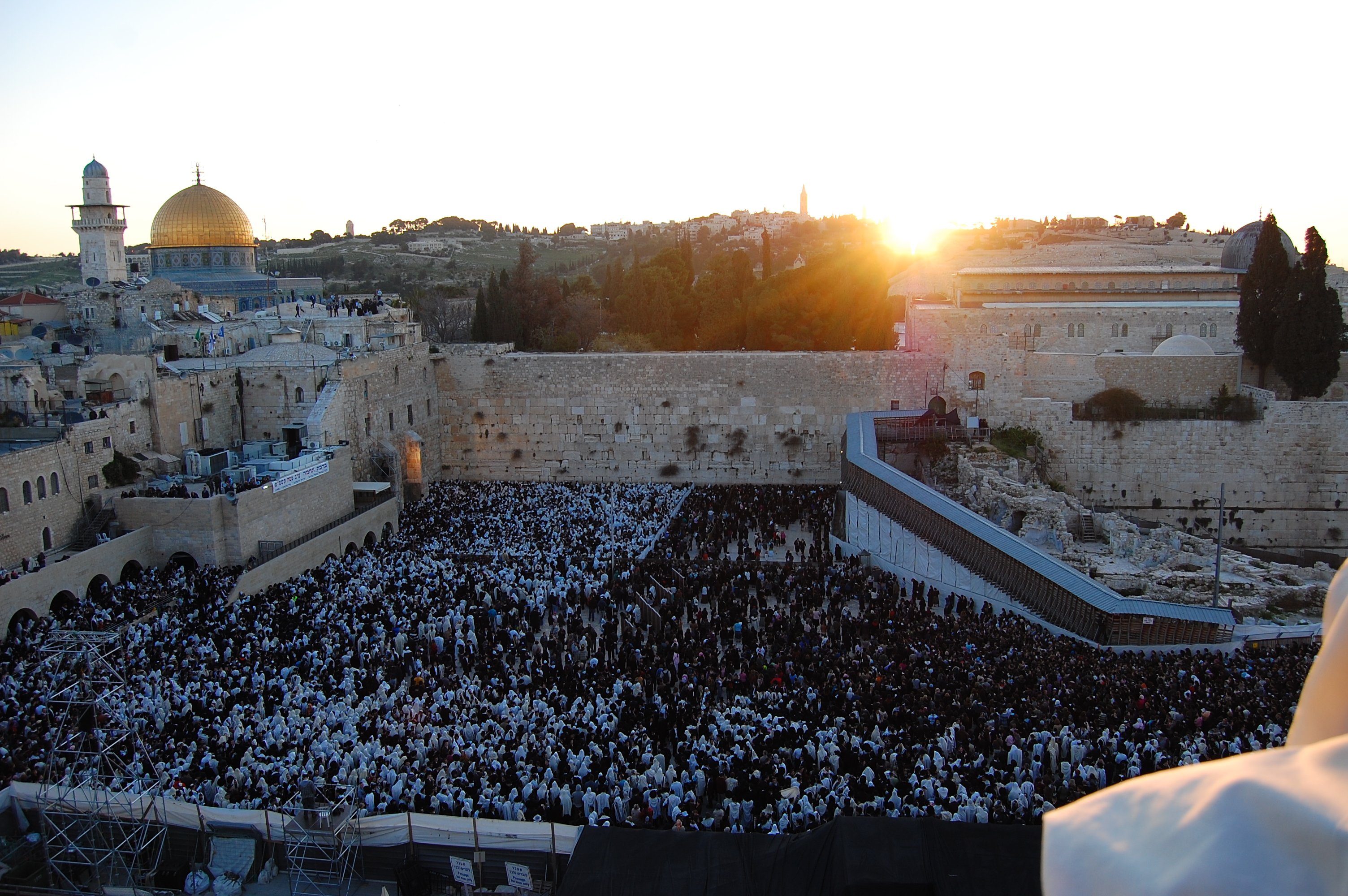 Large crowds of worshipers gathered at the Western Wall