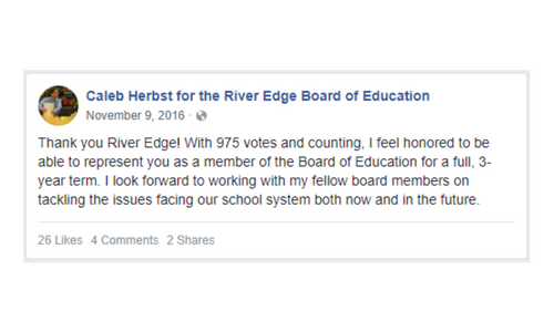 Facebook page announcement of Caleb's victory in the school board election