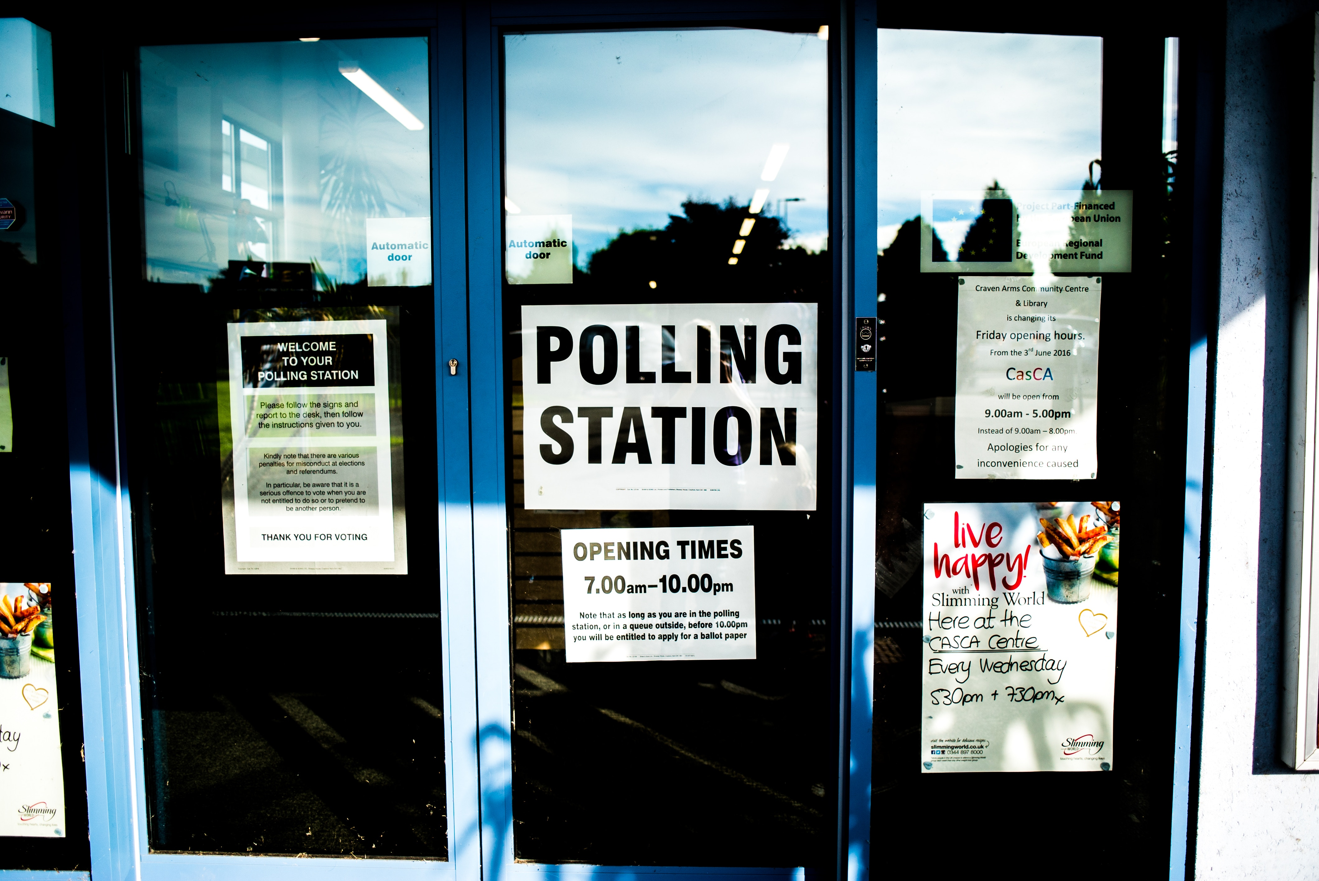 Doors of a polling station