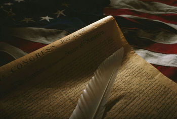 Bill of Rights; quill; American flag