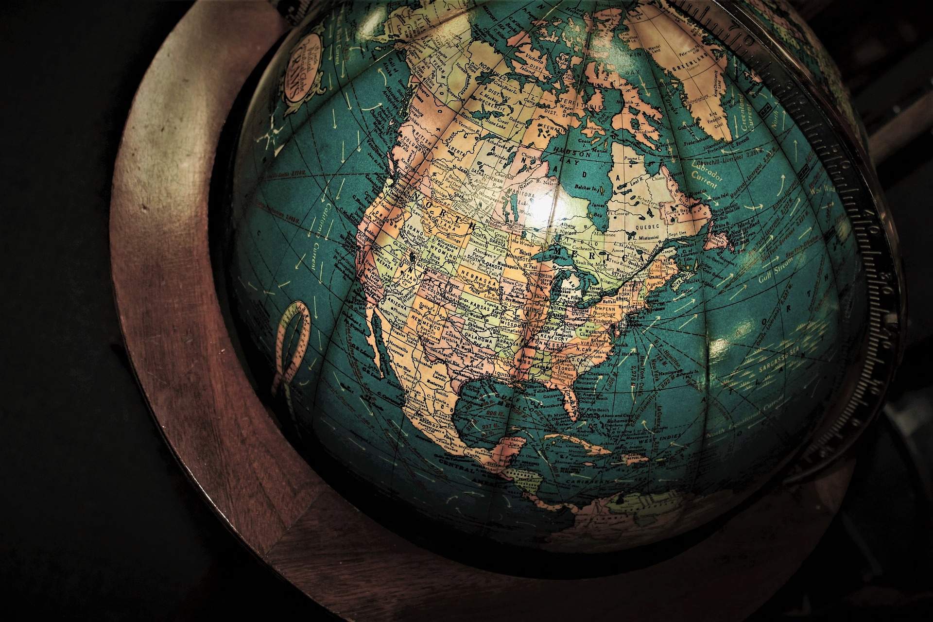 Image of a globe, zoomed in on the United States