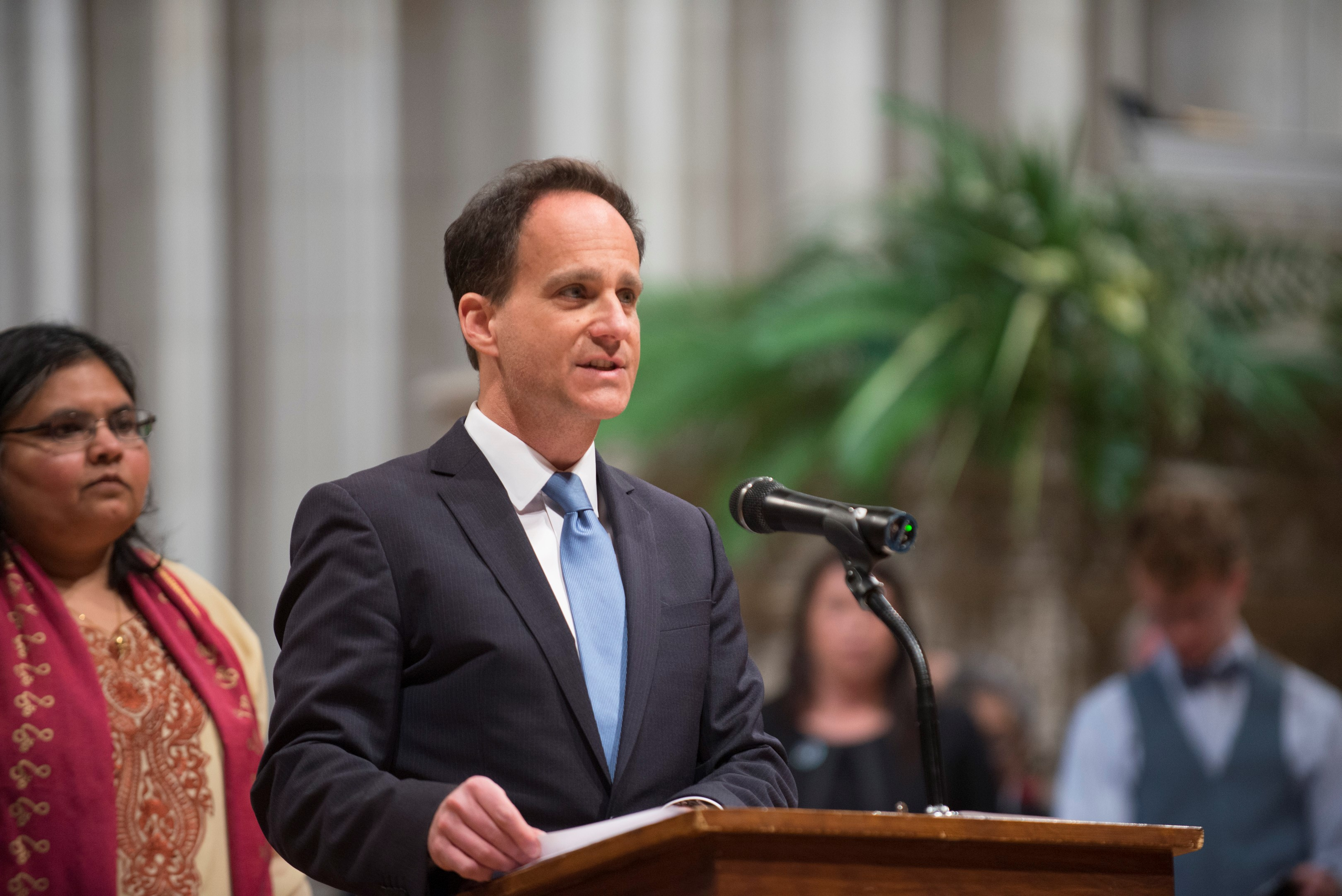 Rabbi Jonah Dov Pesner offers a call to prayer at the Washington National Cathedral's interfaith vigil.