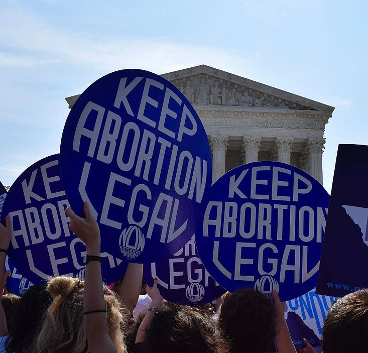 "signs held in front of Supreme Court saying ""Keep abortion legal"""