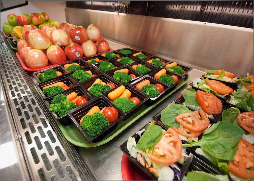vegetable trays on a lunch line