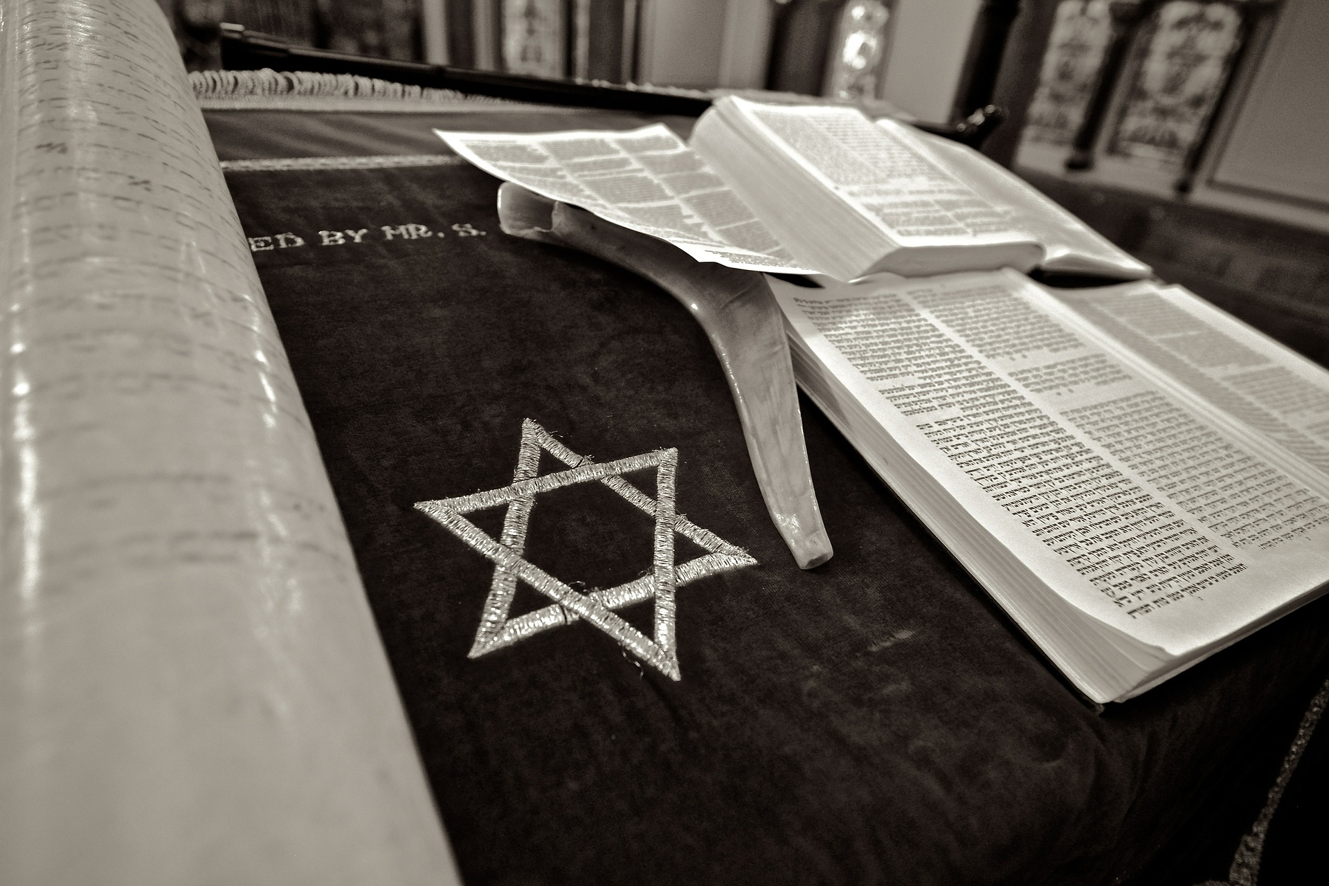 Black and white image of a Torah