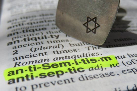 The word antisemitism highlighted in yellow on a dictionary page