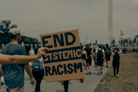 End Systemic Racism written on a sign