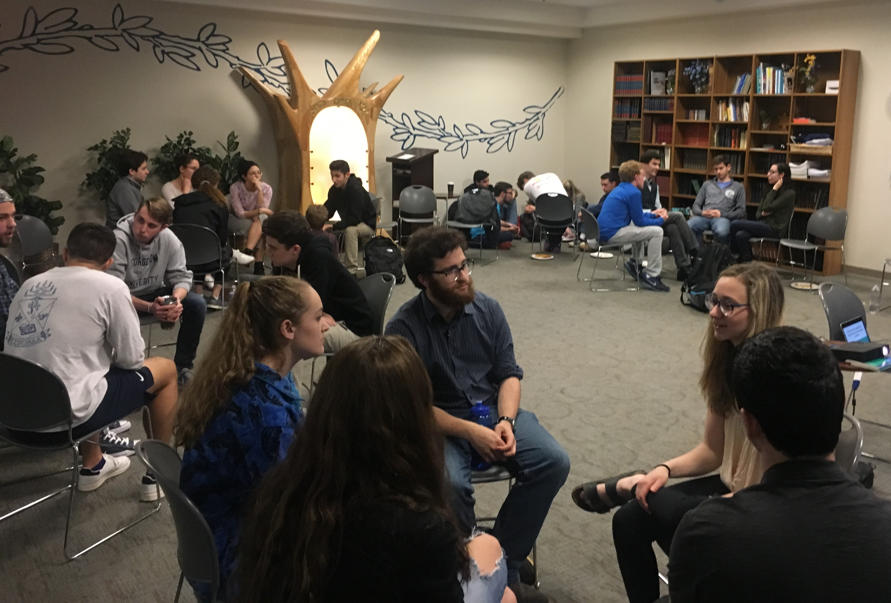 Jewish college students gather to discuss issues of gender-based violence